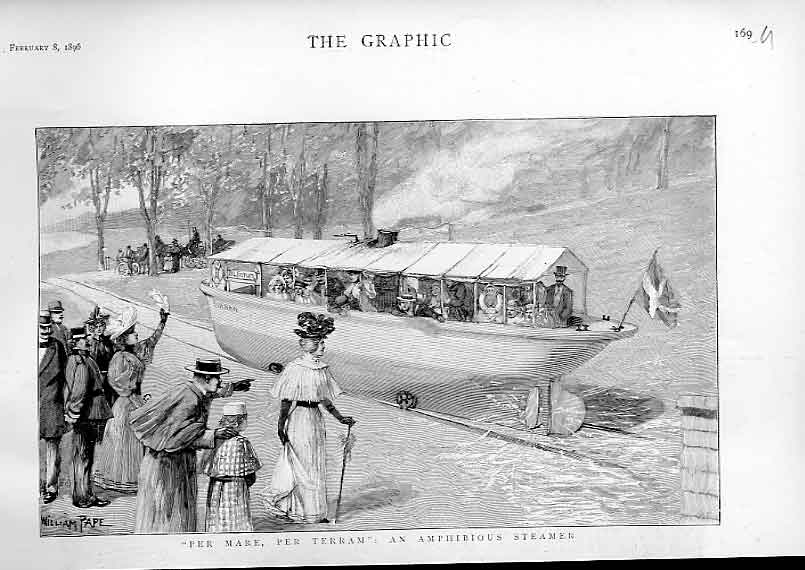 Print An Amphibious Steamer On Land & Water 1896 69Ubbb0 Old Original
