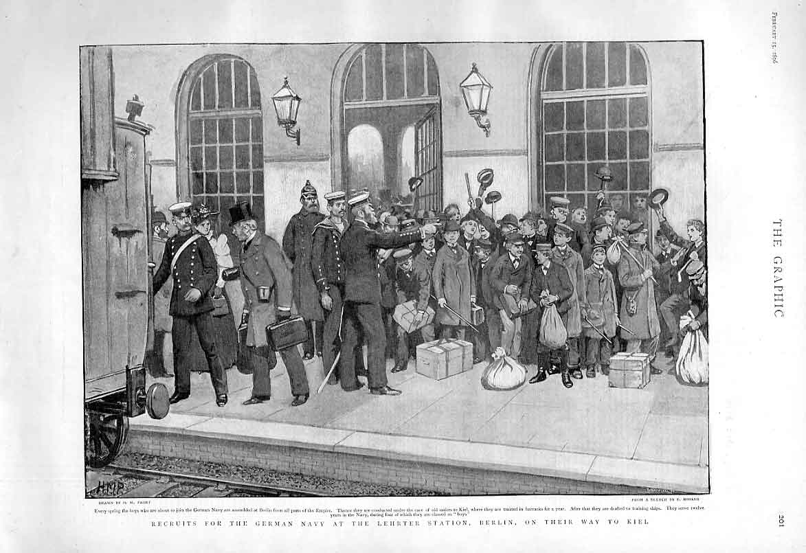 Print Recruits For German Army Lehrter Rail Station Berlin 18 01Bbb0 Old Original