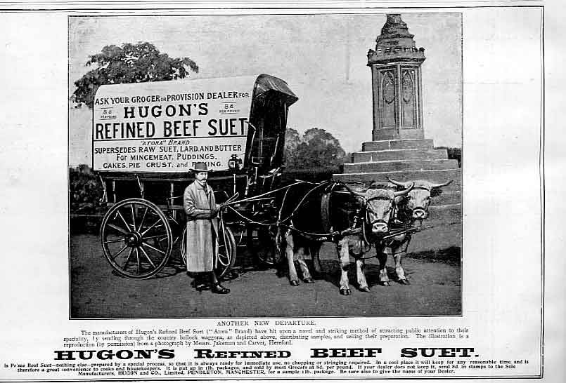 Print Ox Cart Advert For Hugons Beef Suet 1896 40Bbb0 Old Original