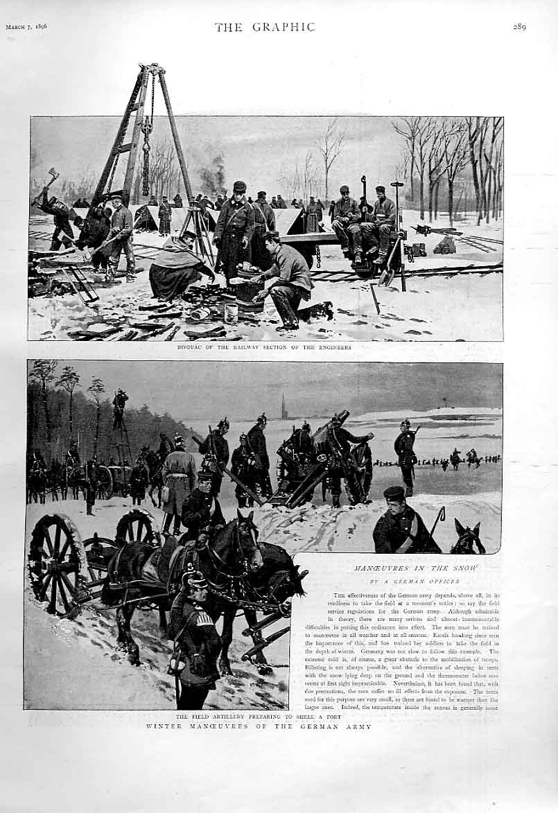Print Winter Manoeuvres German Army 1896 89Bbb0 Old Original