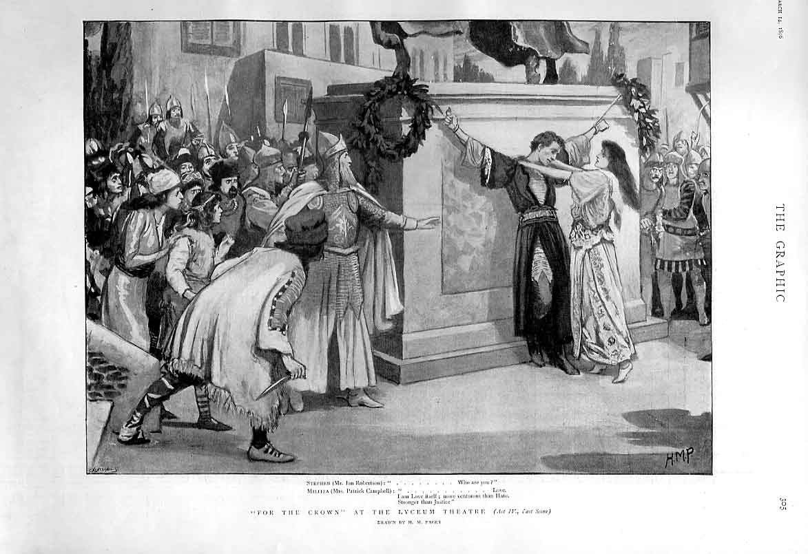 Print For The Crown At Lyceum Theatre 1896 05Bbb0 Old Original