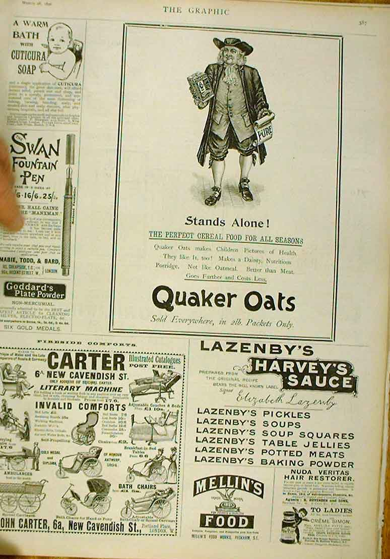 Print Stand Alone Advert 1896 Quaker Oats 87Bbb0 Old Original
