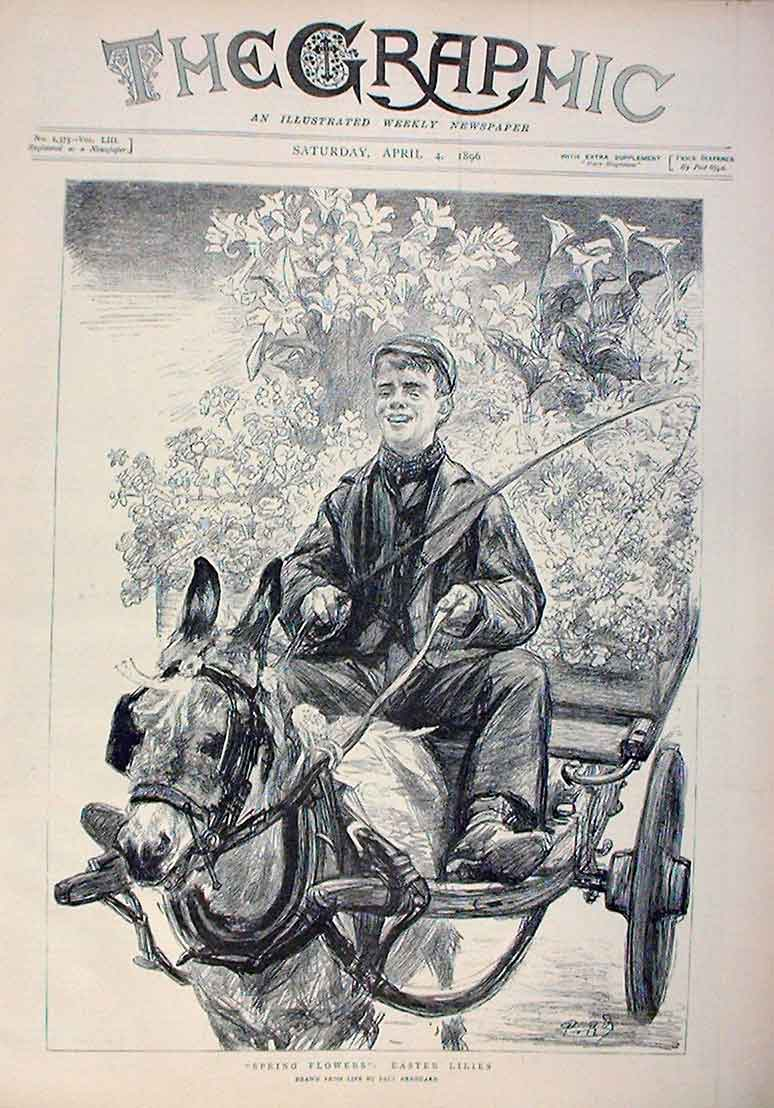 Print Happy Boy Selling Spring Flowers Easter Lillies 1896 90Bbb0 Old Original