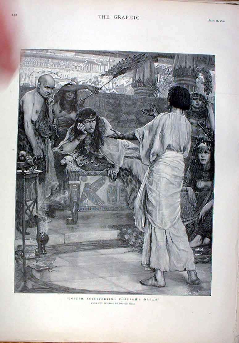 Print Joseph Interpreting Pharaohs Dream 1896 Fine Art 32Bbb0 Old Original