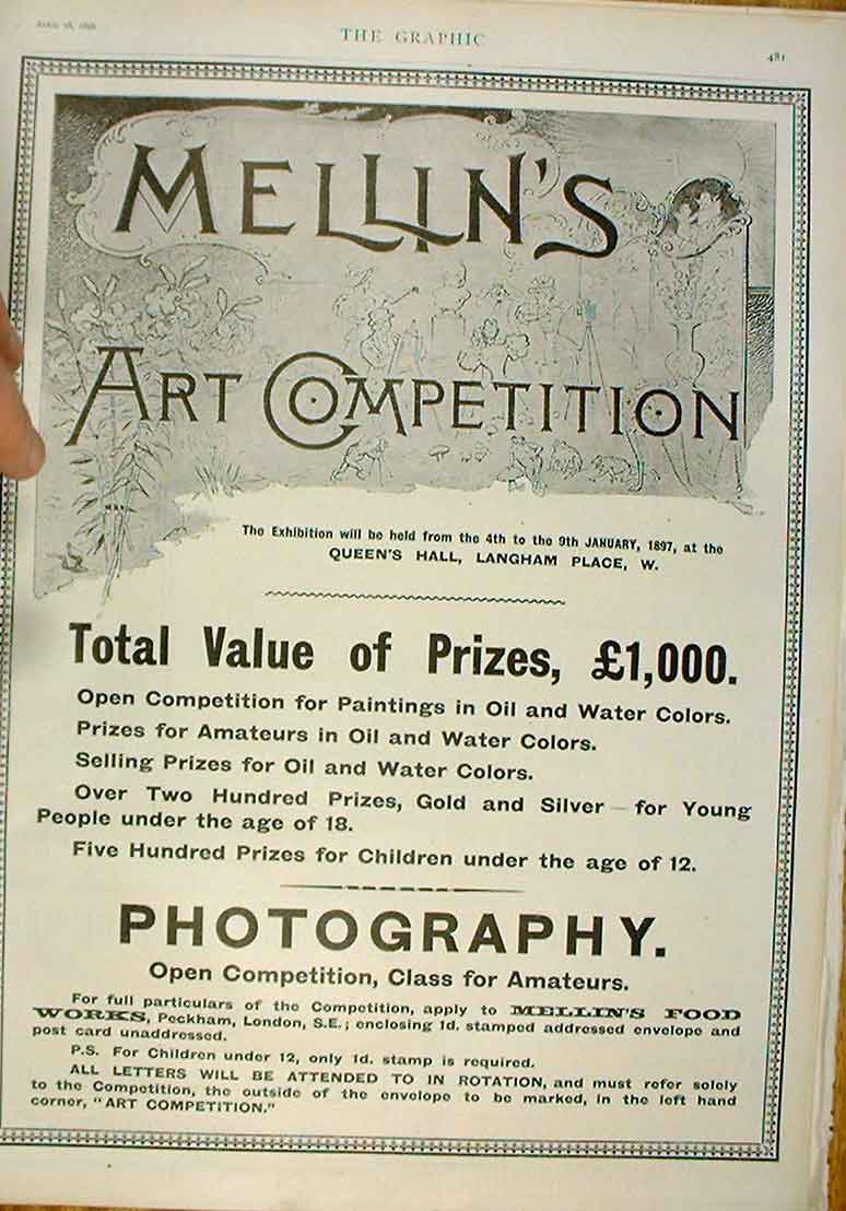 Print Photography Competition Advert 1896 Mellins 81Bbb0 Old Original