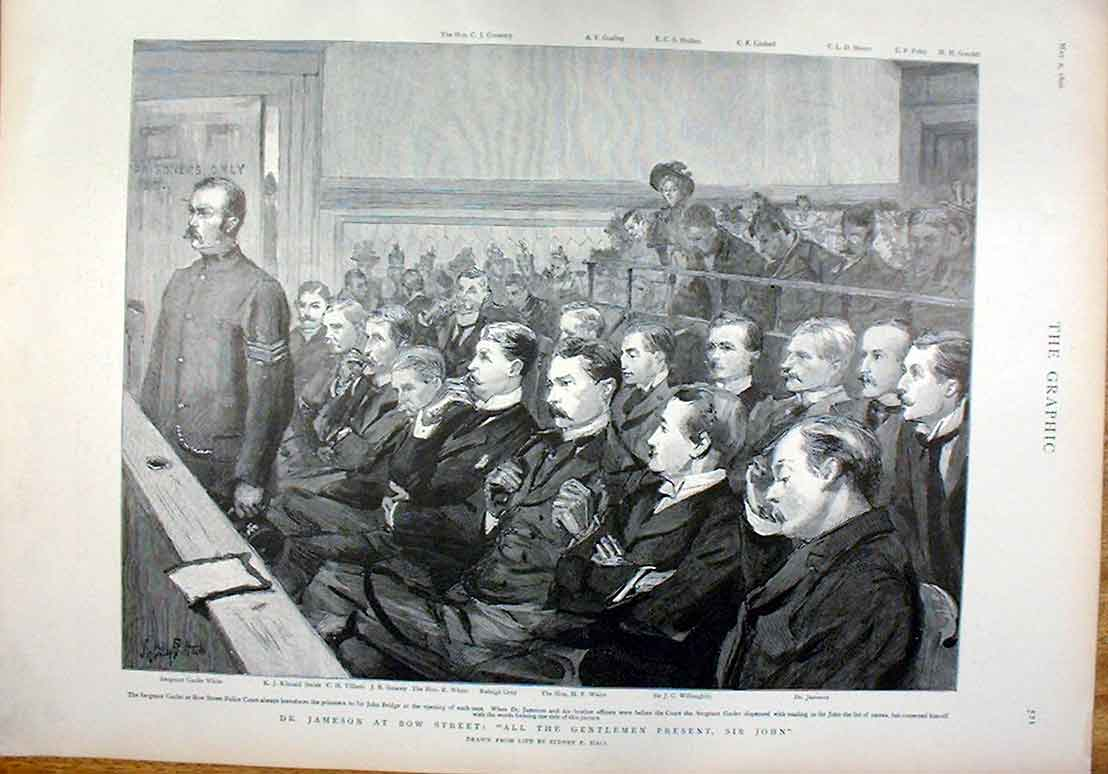 Print Dr Juameson & Officers At Bow Street Court 1896 21Bbb0 Old Original