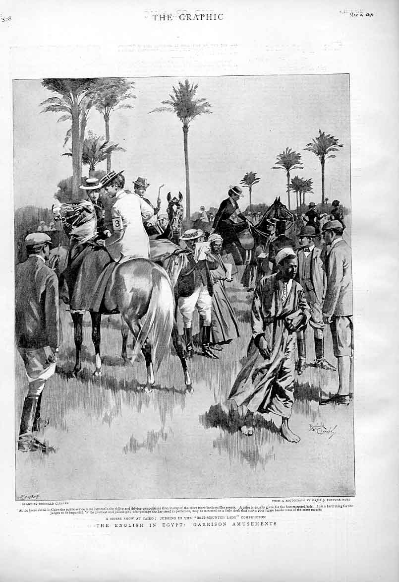 Print Garrison Amusements English In Egypt A Horse Show 28Bbb0 Old Original