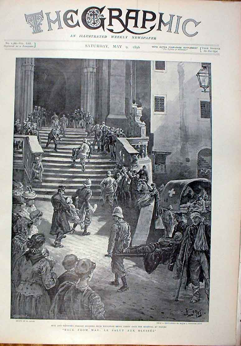 [Print Wounded Italian Soldiers Hospital Naples 1896 Italy 50Bbb0 Old Original]