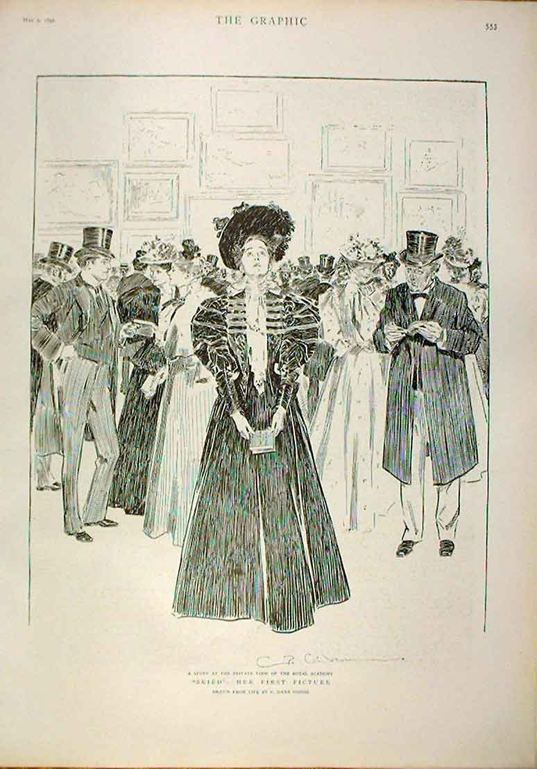 [Print Skied Her First Picture 1896 Fine Art 53Bbb0 Old Original]