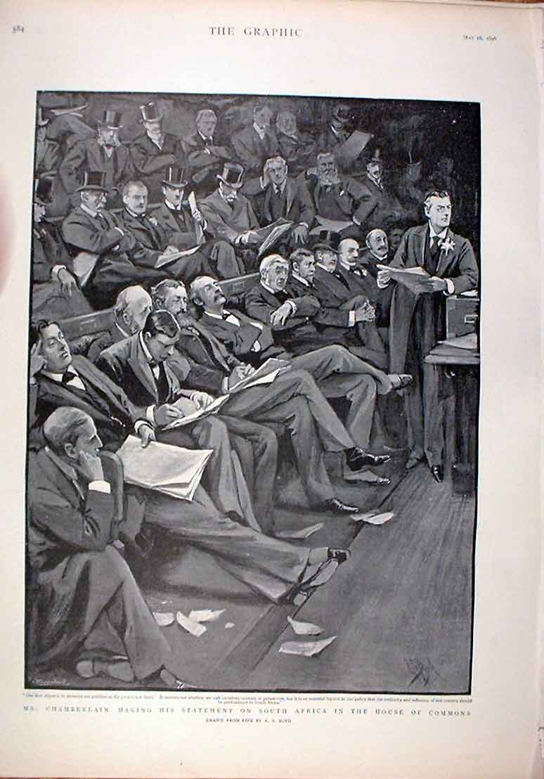 [Print Chamberlain Making Statement On South Africa 1896 Commo 84Bbb0 Old Original]