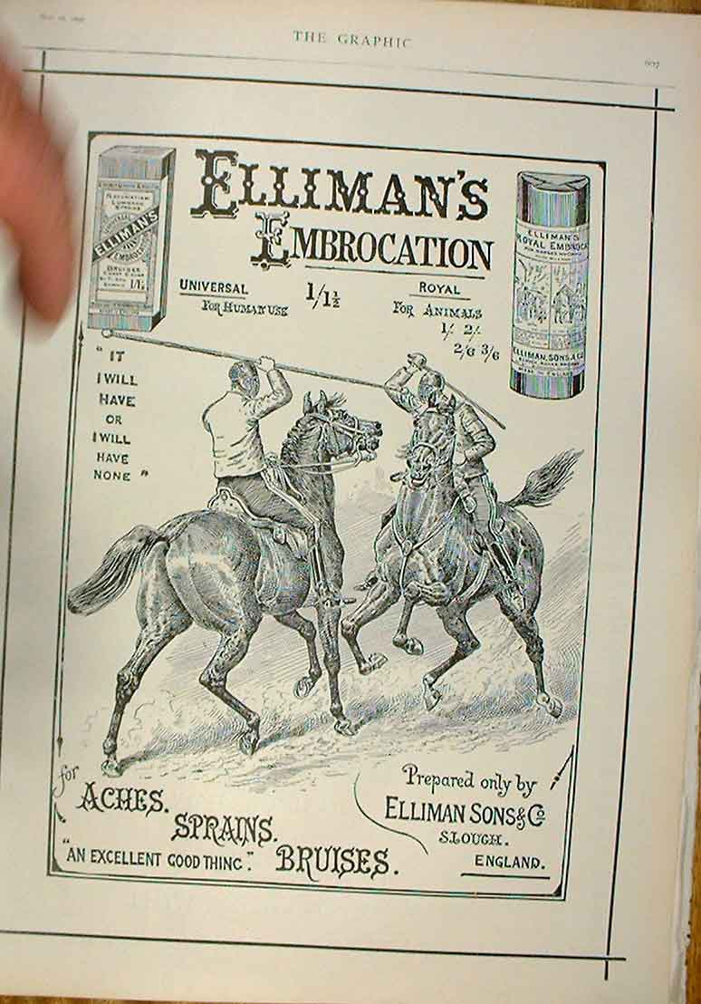 [Print Jousting Advert 1896 Ellimans Embrocation 07Bbb0 Old Original]