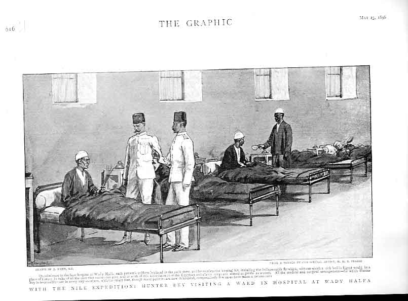 Print Hunter Bey Visits Hospital Wady Halfa Egypt 1896 16Ubbb0 Old Original