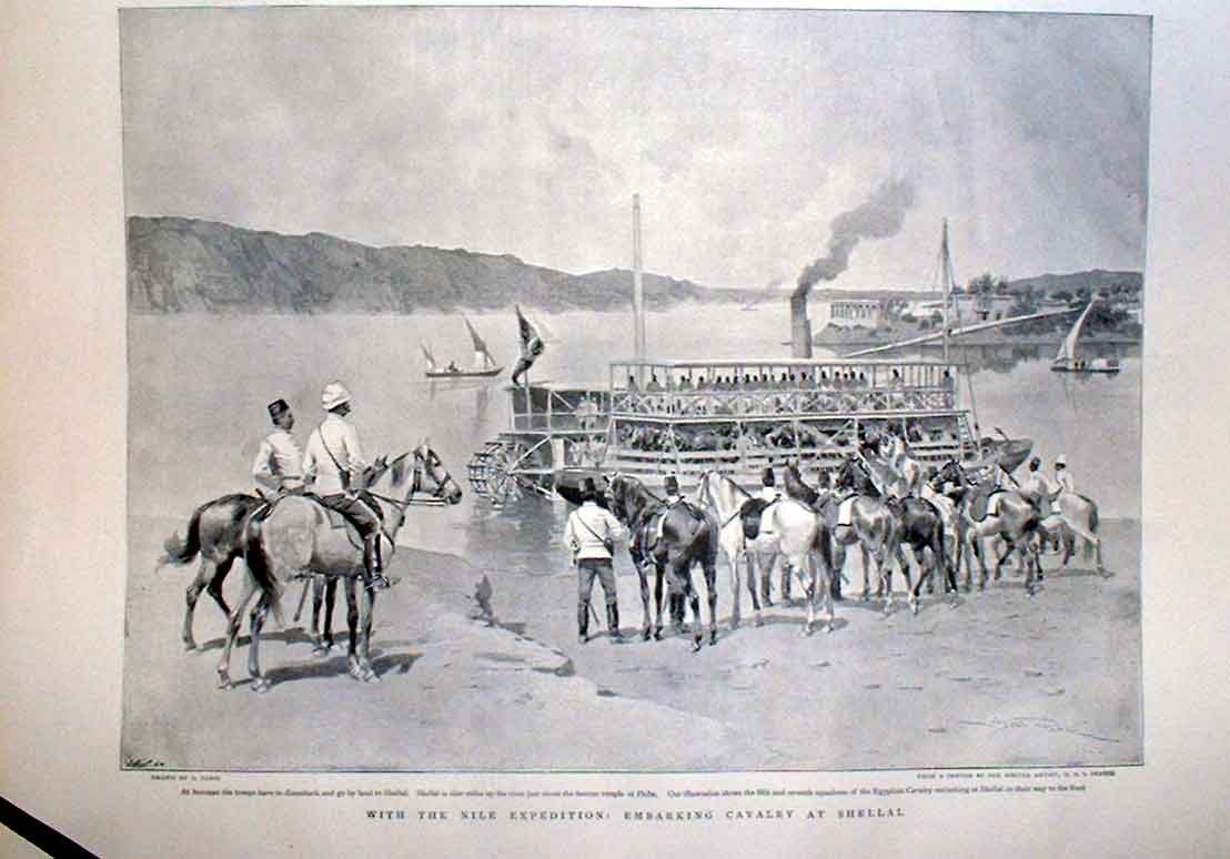 Print Embarking Cavalry Bayonet Practice Nile Egypt 1905 20Abbb0 Old Original