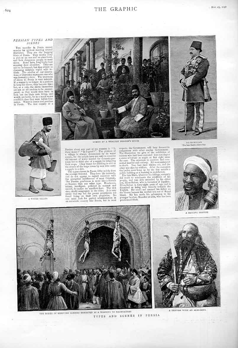 Print Persia 1896 Executed Robbers Wealthby Persian House 24Bbb0 Old Original