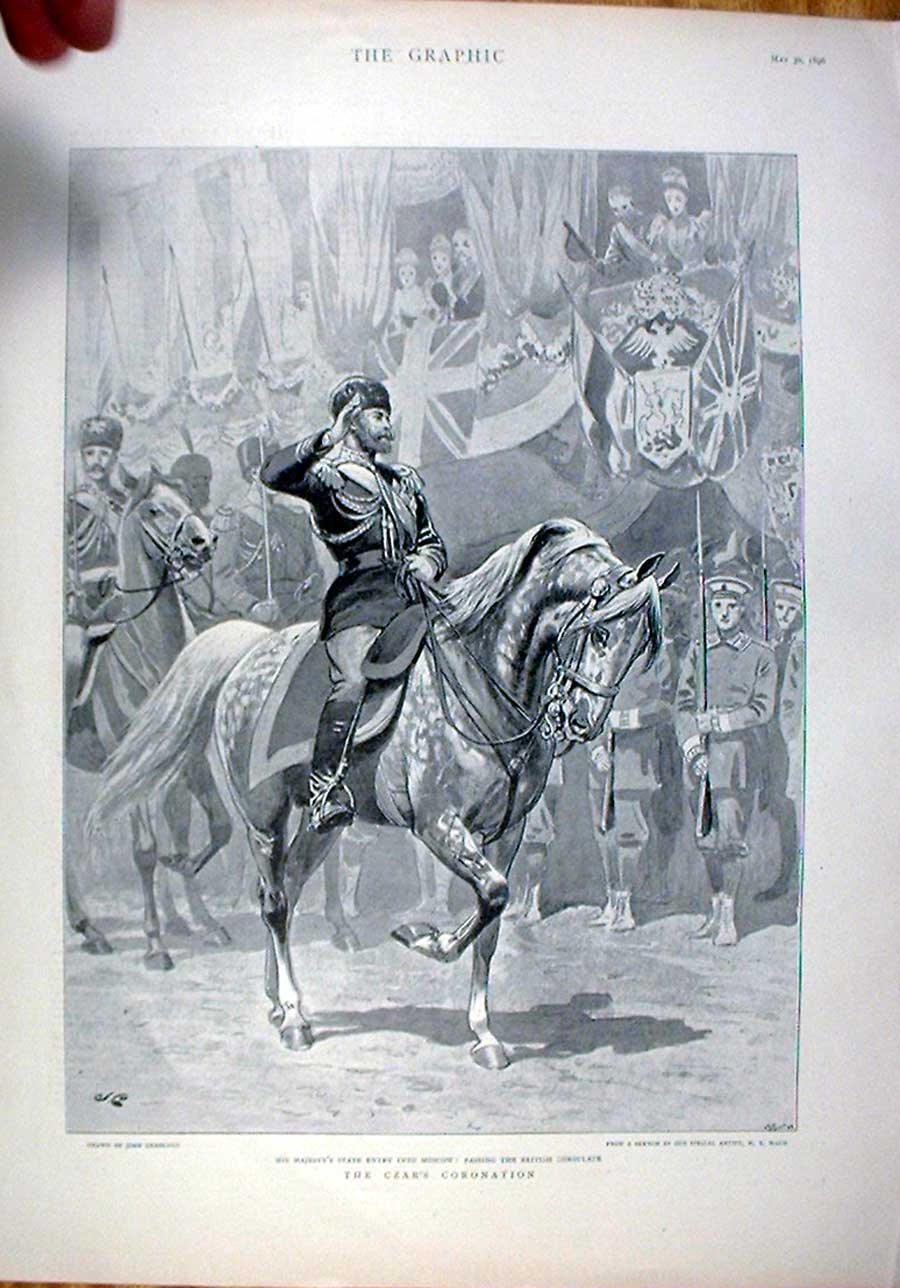 Print The Czar Russia State Entry Into Moscow 1896 48Bbb0 Old Original