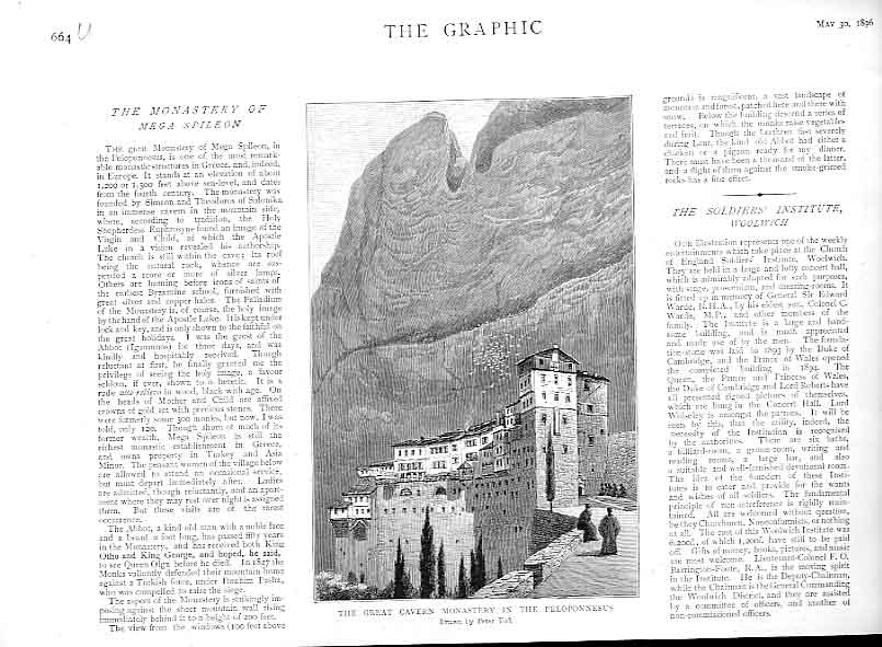 Print Great Cavern Monastry In Pelopennesus 64Ubbb0 Old Original
