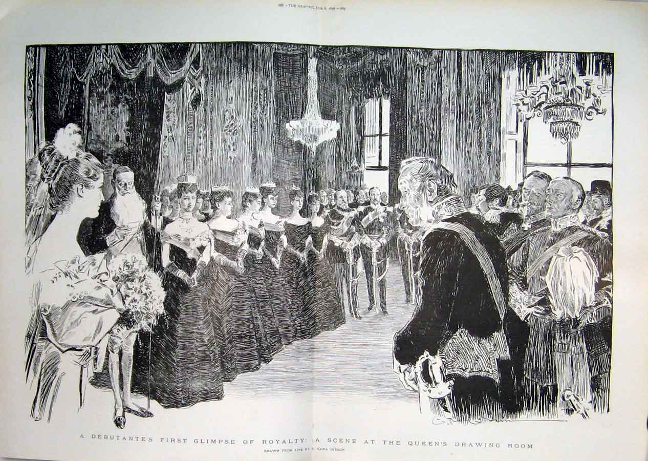 Print Queen Victoria'S Drawing Room Debutantes Day 1896 87Tbbb0 Old Original