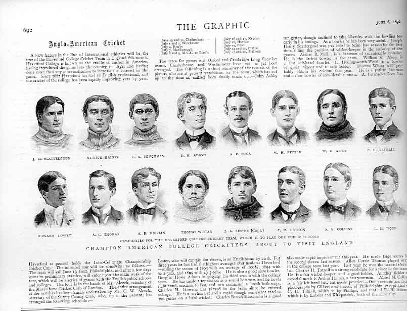 Print Champion American College Cricketers To Visit England 1 92Bbb0 Old Original
