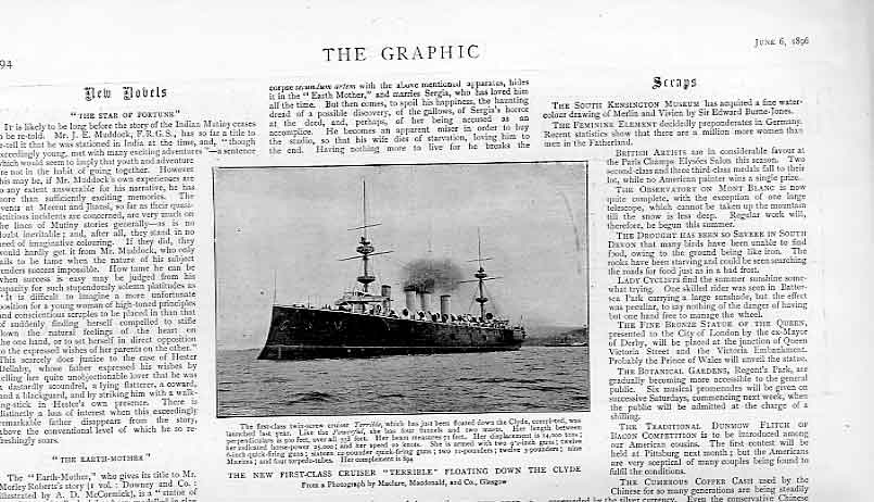 Print New Cruiser Terrible On Clyde 1896 Ad Northern Pacific 94Bbb0 Old Original