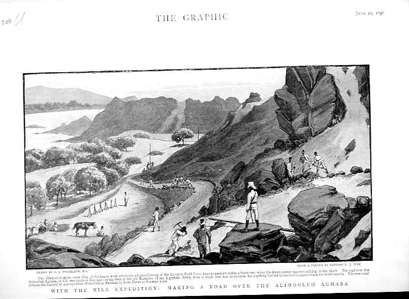 Print Road Making Over Alimooleh Aghaba Nile Expedition 1896 28Ubbb0 Old Original