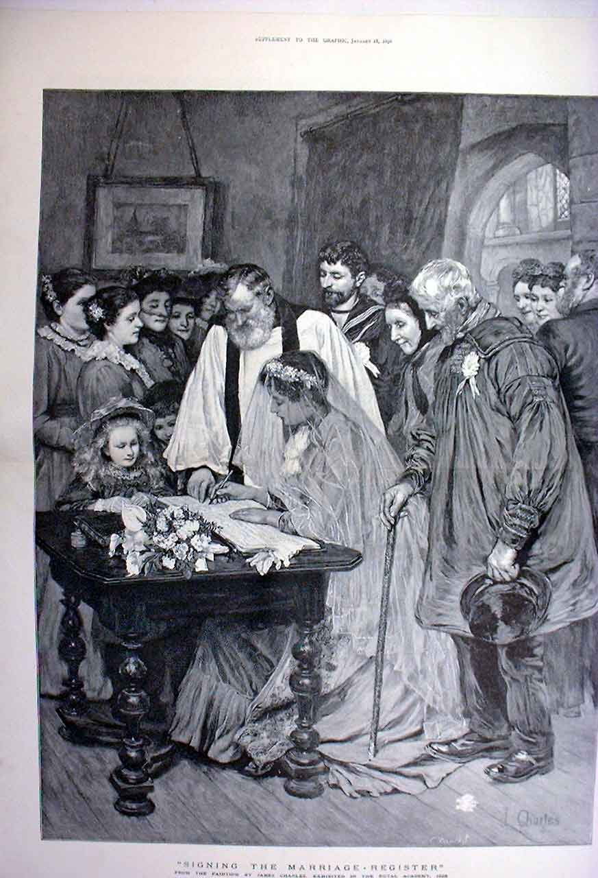 Print Signing The Marriage Register Fine Art 1896 08Tbbb0 Old Original
