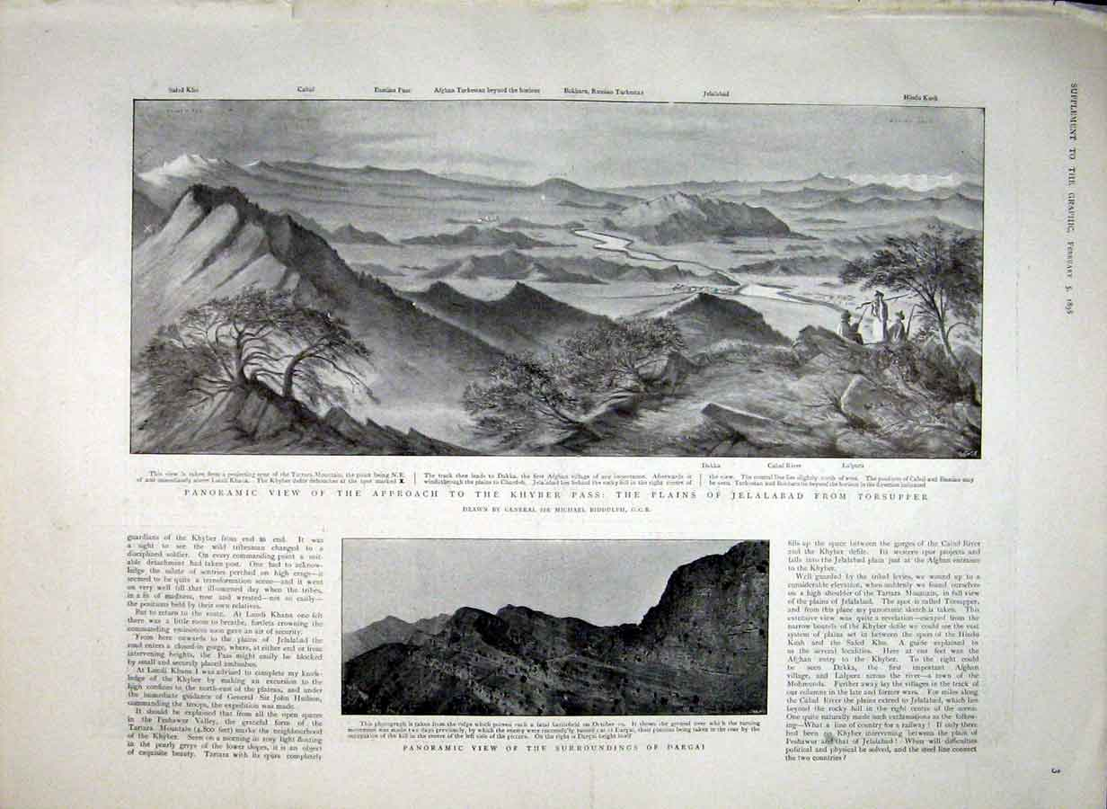 Print Panoramic View Apoproach To Kyber Pass 1898 03Bbb0 Old Original