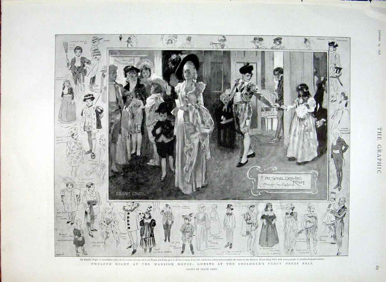 Print 12Th Night Guests At Mansion House Fancy Dress Ball 189 69Bbb0 Old Original