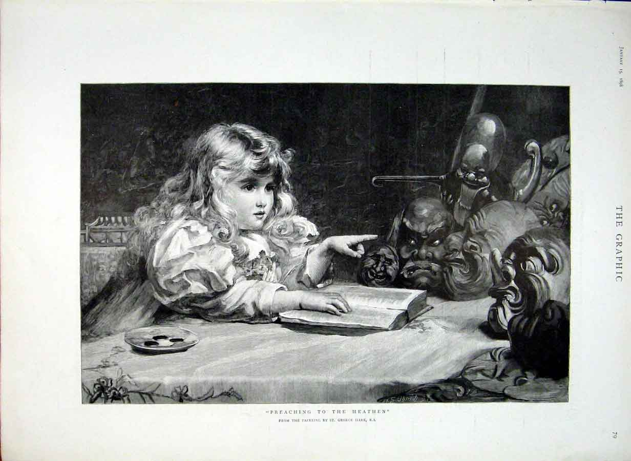 Print Preching To The Heathen By Hare Fine Art 1898 79Bbb0 Old Original