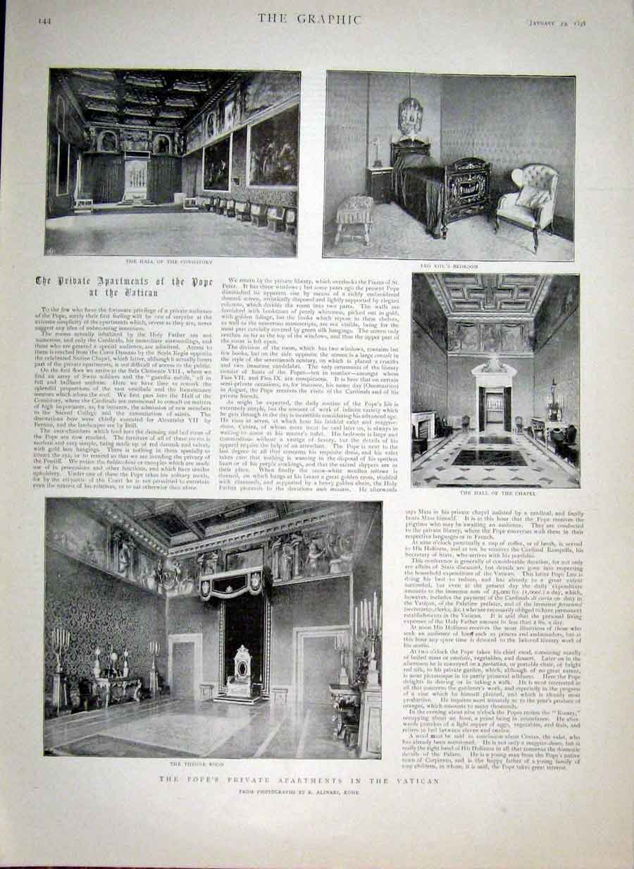 Print Popes Private Apartments In Vatican 1898 Rome 44Bbb0 Old Original