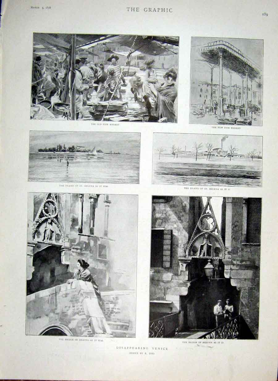 Print Disappearing Venice 1898 Italy 89Bbb0 Old Original