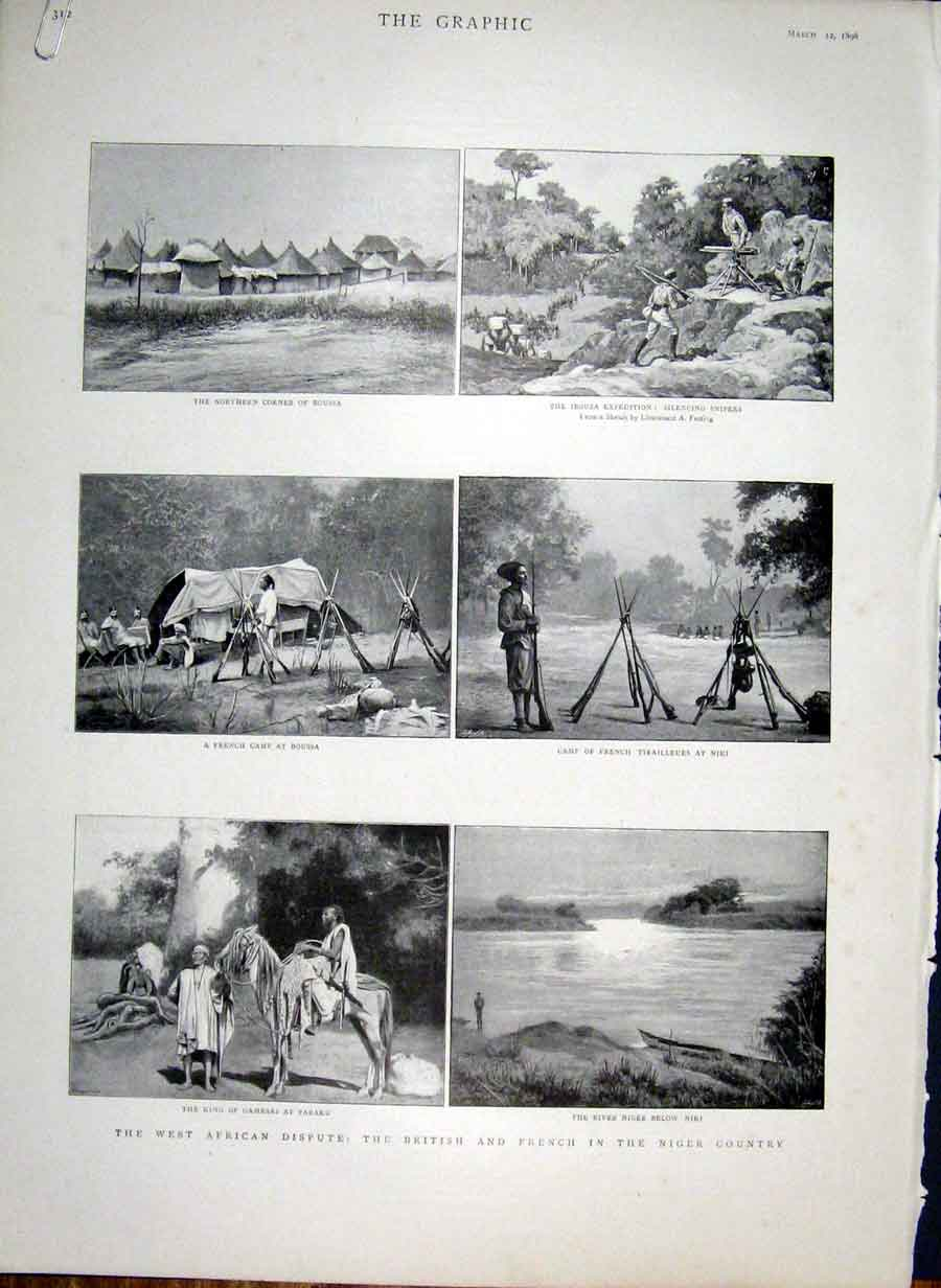 Print British & French In Niger Country 1898 Africa 12Abbb0 Old Original