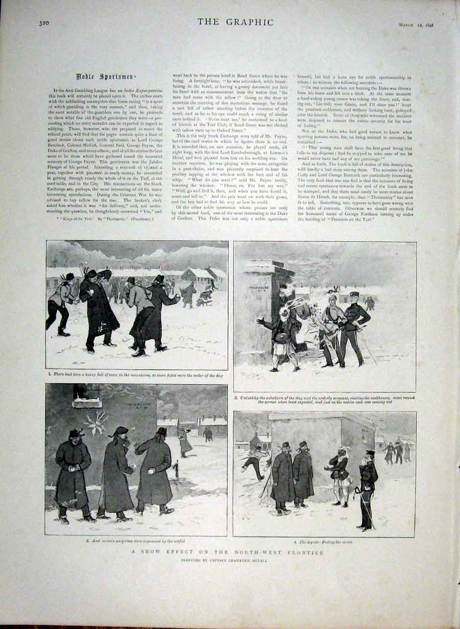 Print Snow Effect On North West Frantier 1898 India 20Bbb0 Old Original