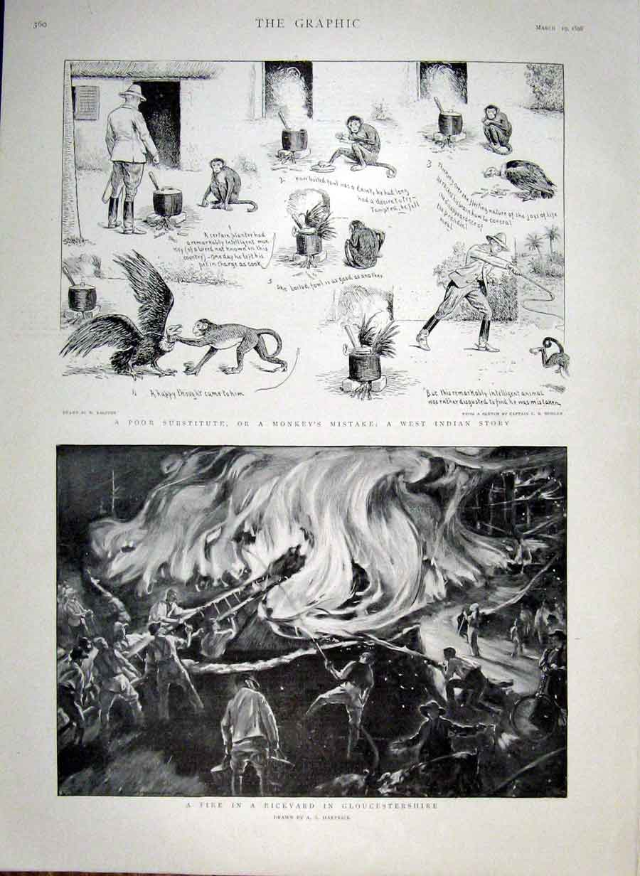 Print Monkey'S Mistake 1898 Fire Rickyard Gloucestershire 60Bbb0 Old Original