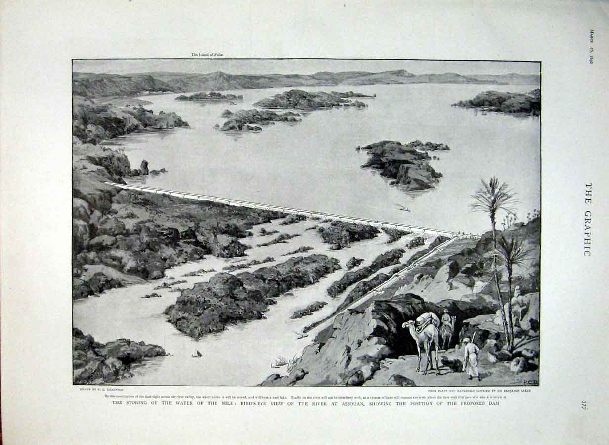 Print Assouan Dam Proposed On Nile Egypt 1898 77Bbb0 Old Original