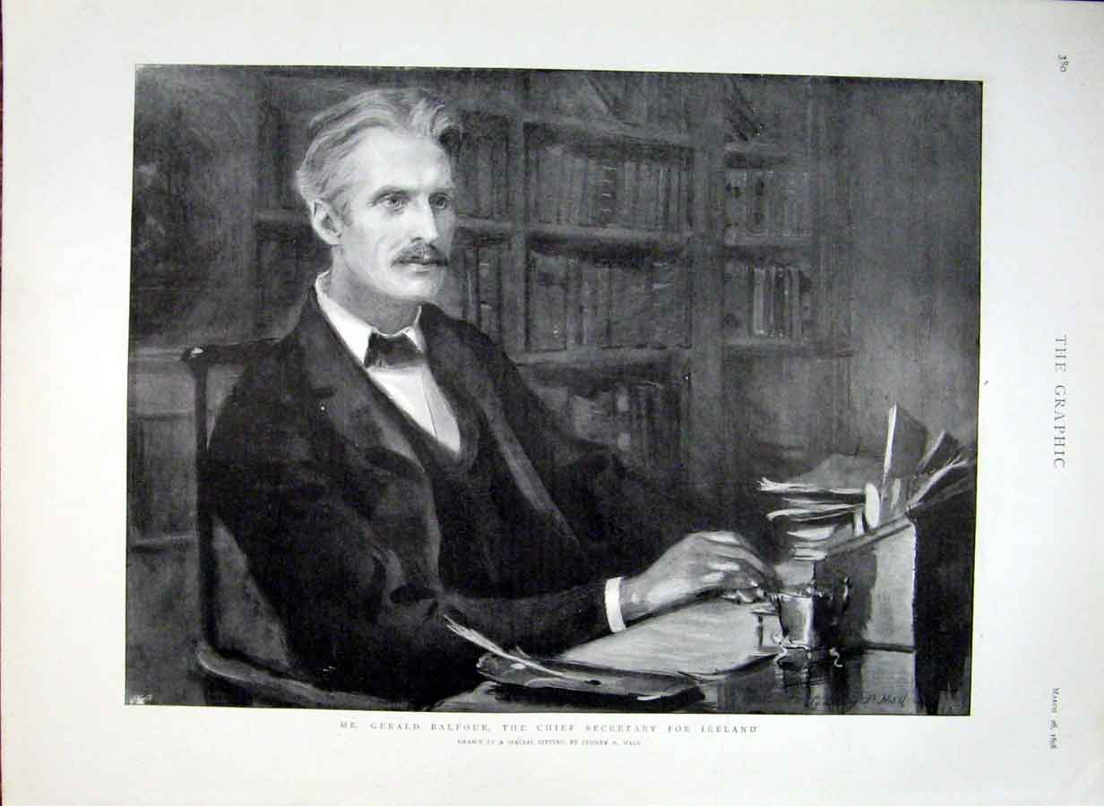 Print Gerald Balfour Secretary For Ireland 1898 80Bbb0 Old Original