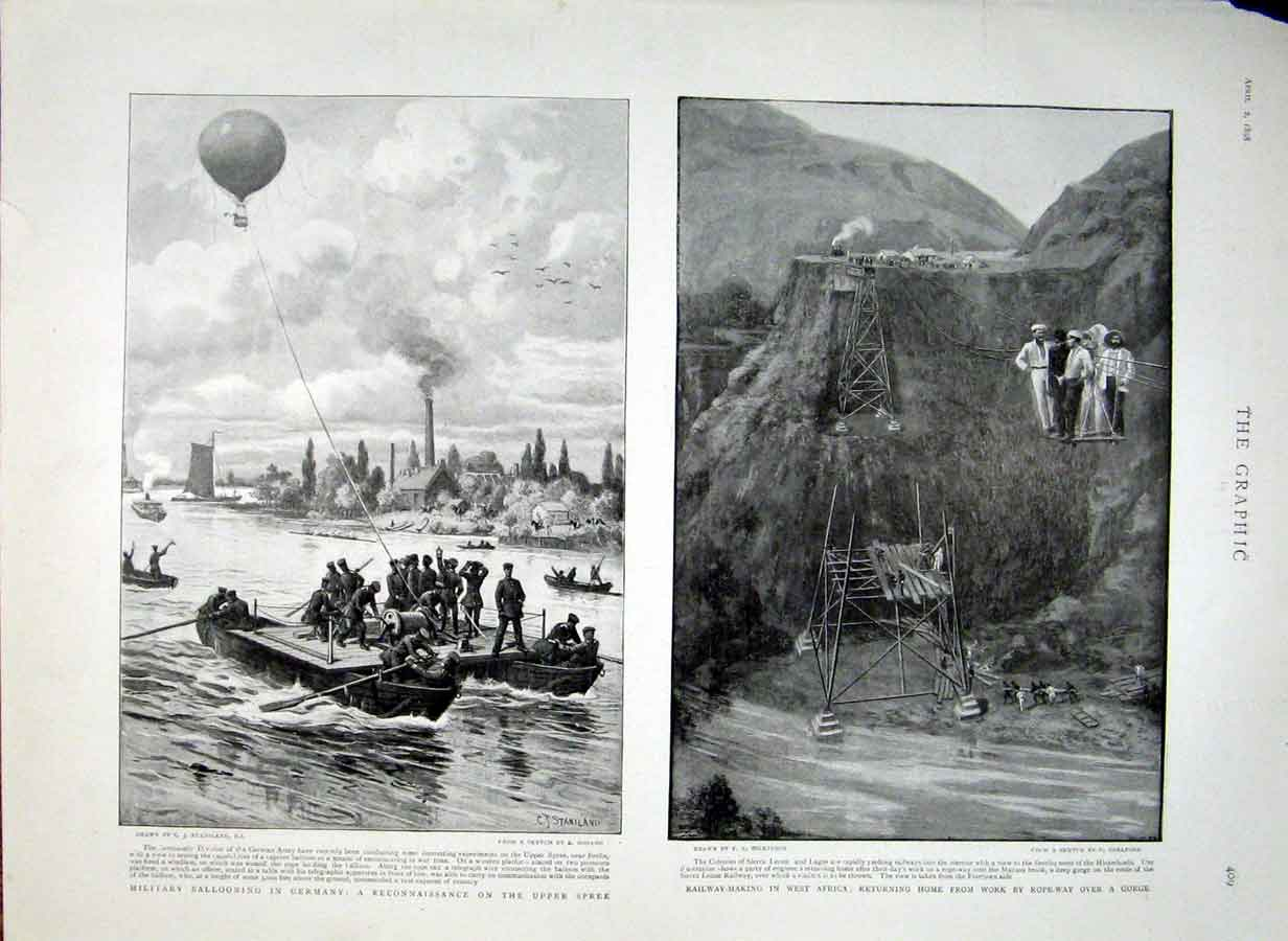 Print Military Ballooning Germany 1898 Railway Making Africa 09Bbb0 Old Original