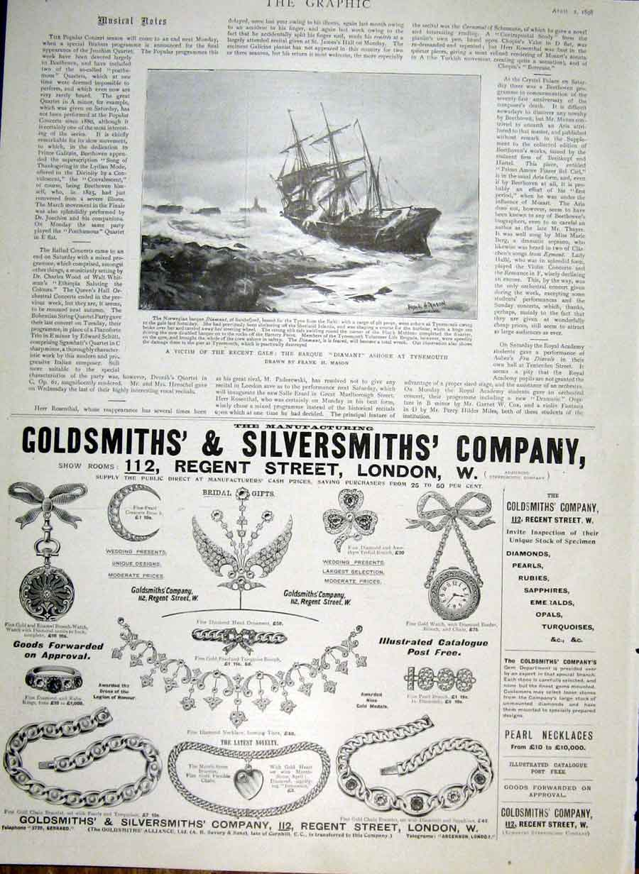 Print Barque Diamant Asghore At Tynemouth 1898 Ship 22Bbb0 Old Original