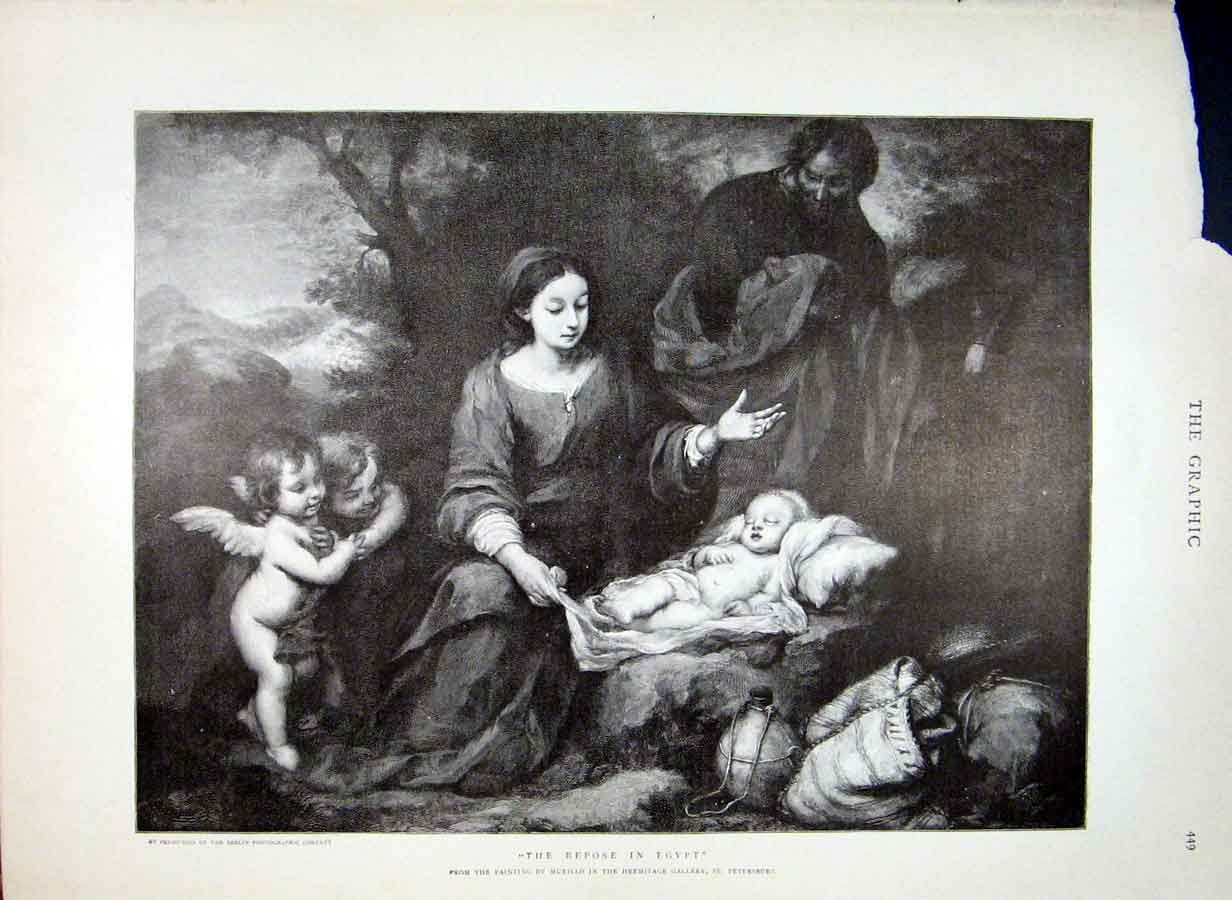 Print Repose In Egypt By Murillo Fine Art 1898 49Bbb0 Old Original