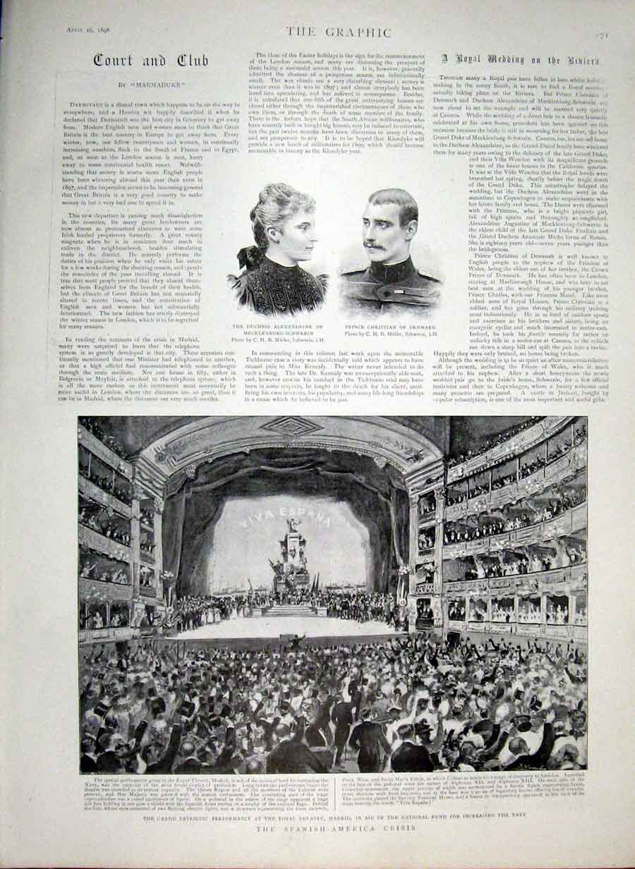 Print Grand Patriotic Theatre Madrid National Navy Fund 1898 71Bbb0 Old Original