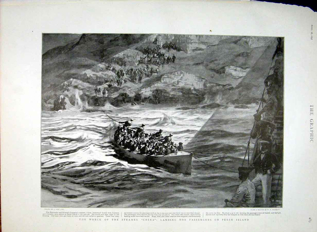 Print Landing Passengers From Wreck Stemer China On Perim Isl 83Bbb0 Old Original