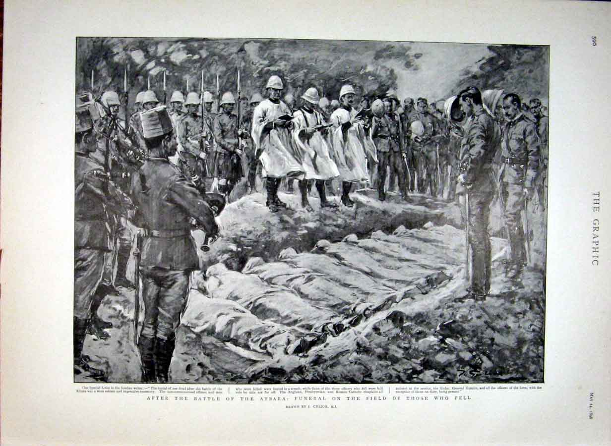 Print Funeral On The Field After Battle Atbara 1898 Soudan 90Bbb0 Old Original