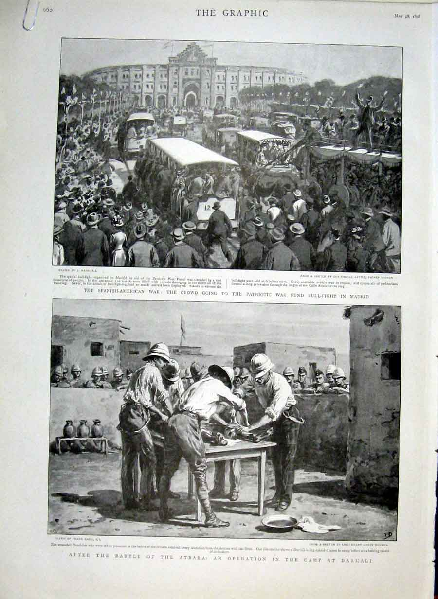 Print Spanish America War Patriotic War Fund Bull Fight Madri 60Abbb0 Old Original