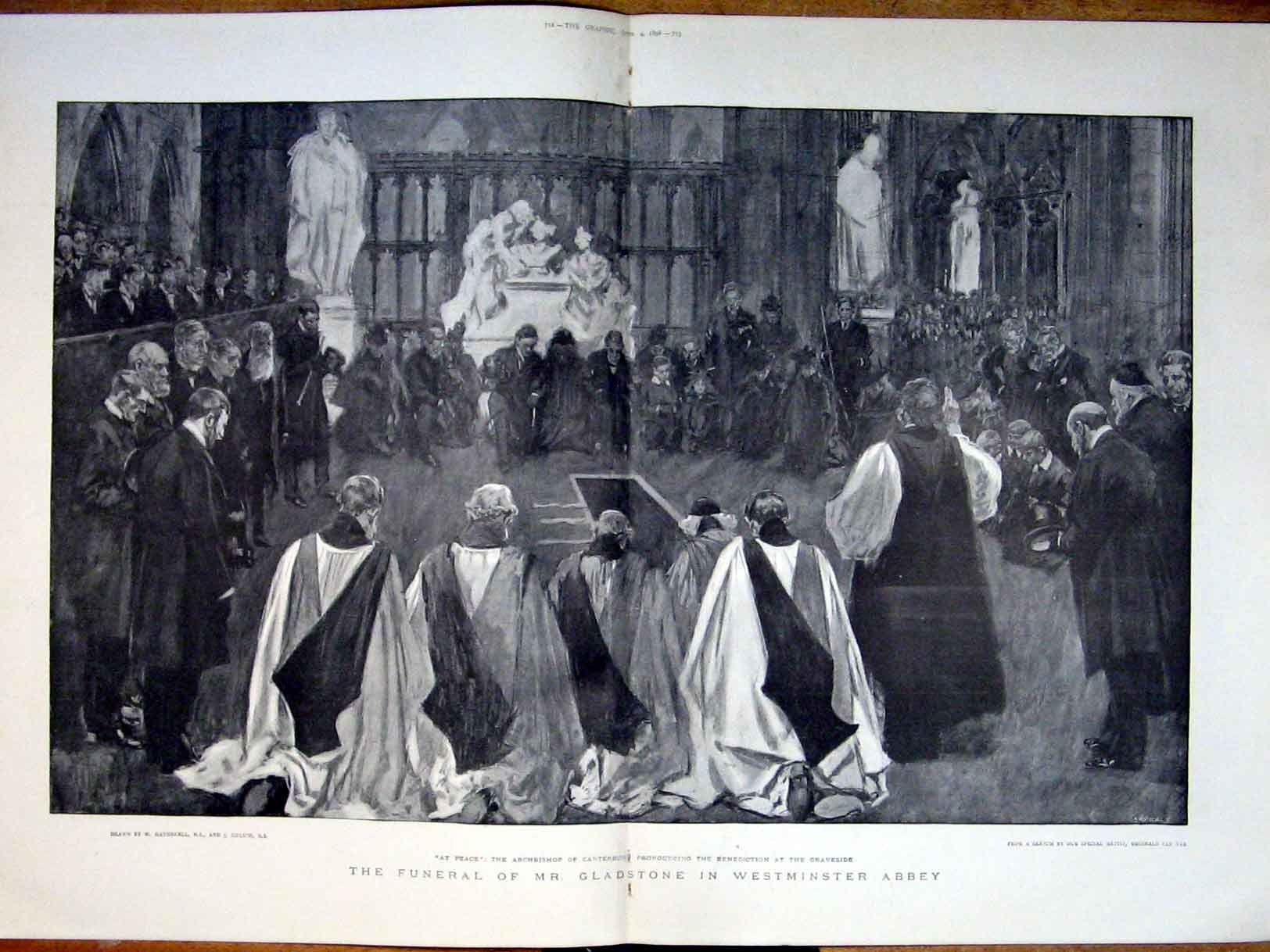 Print Westminister Abbey Funeral Gladstone 1898 11Tbbb0 Old Original