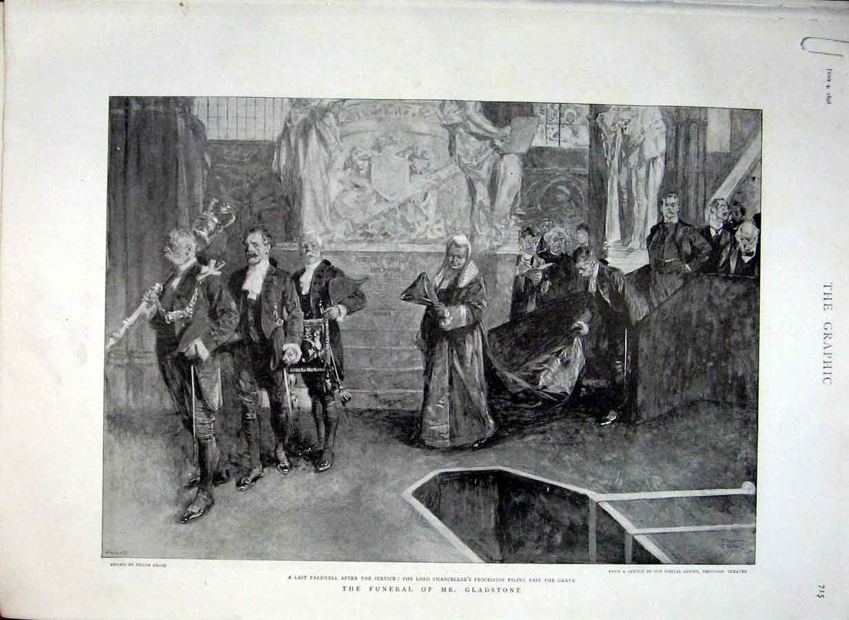 Print Funeral Gladstone 1898 15Abbb0 Old Original