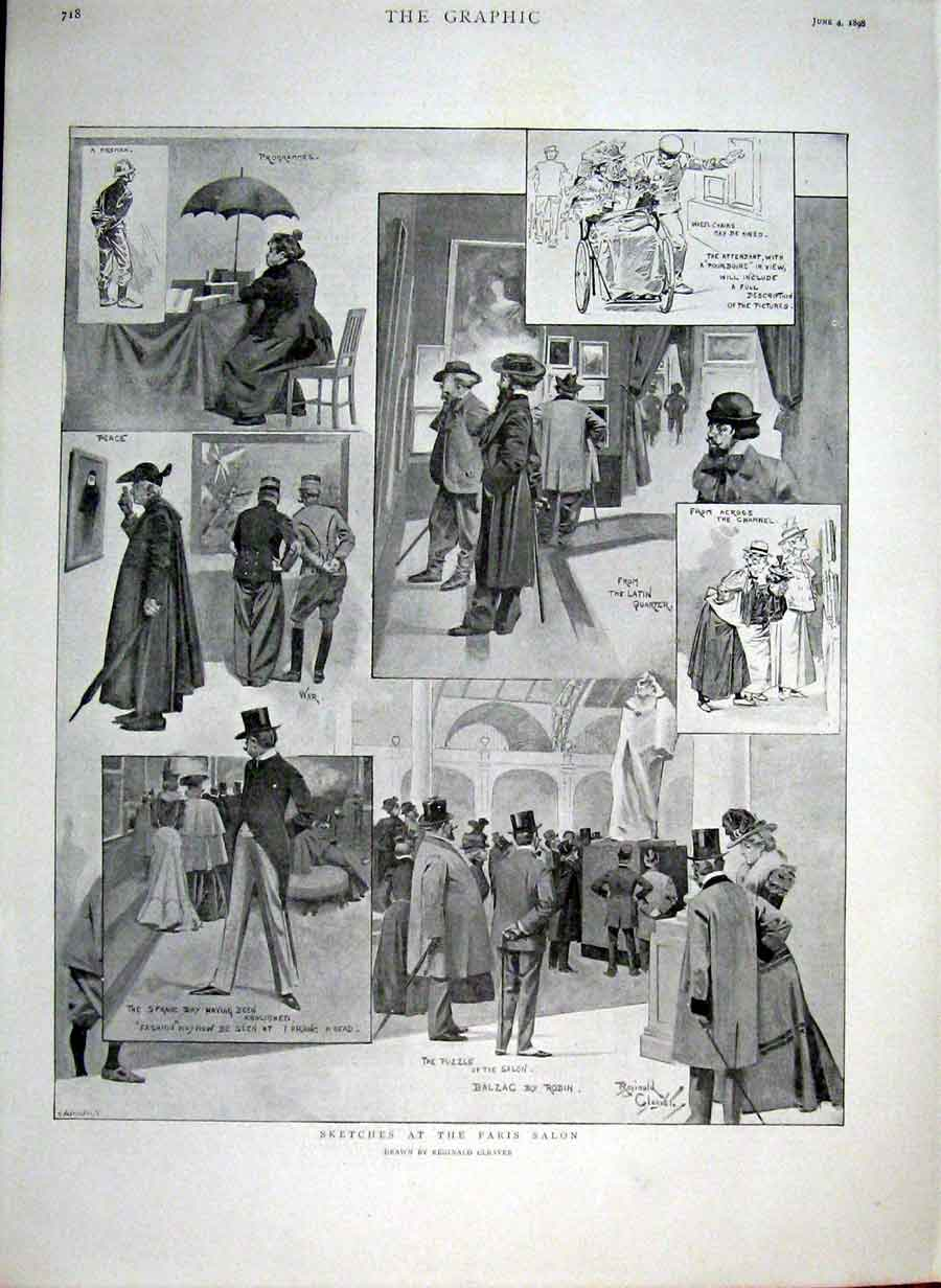 Print Sketches At The Paris Salon 1898 France 18Bbb0 Old Original
