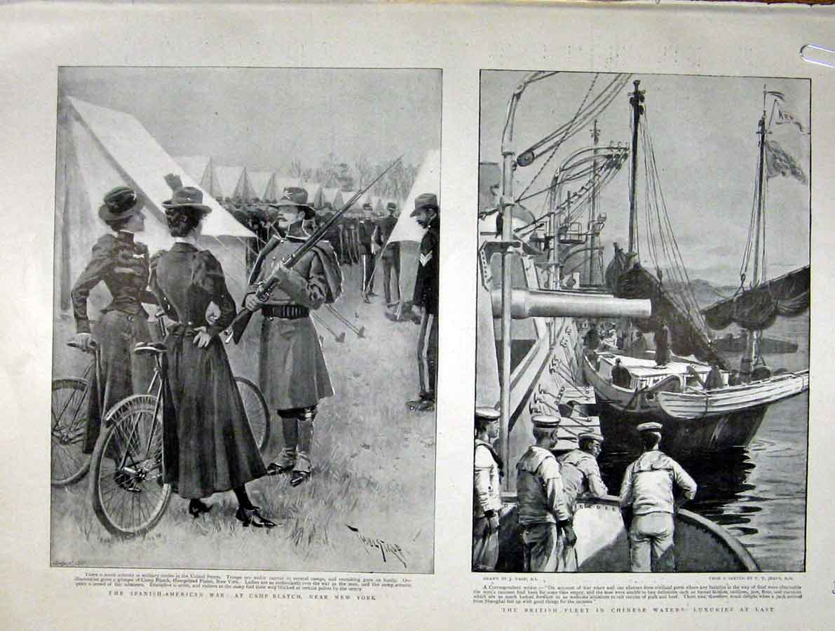 Print Camp Blatch New York 1898 Spanish American War 23Abbb0 Old Original
