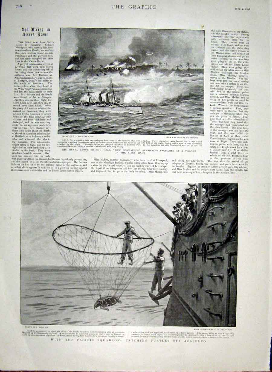 Print Catching Turtles Off Acapulco 1898 Sierra Leone Villag 28Bbb0 Old Original