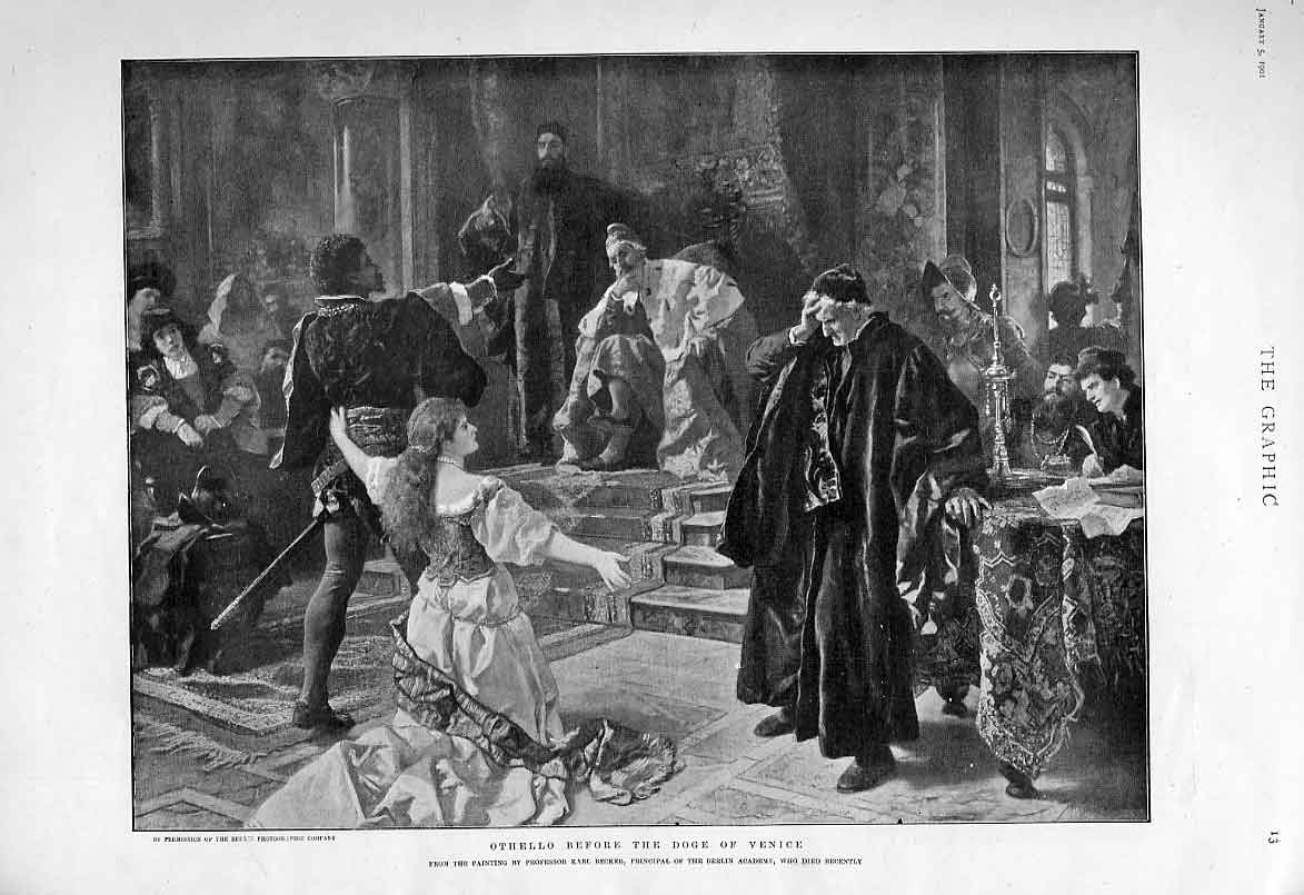 Print Othello Before Doge Venice Fine Art 1901 13Bbb0 Old Original