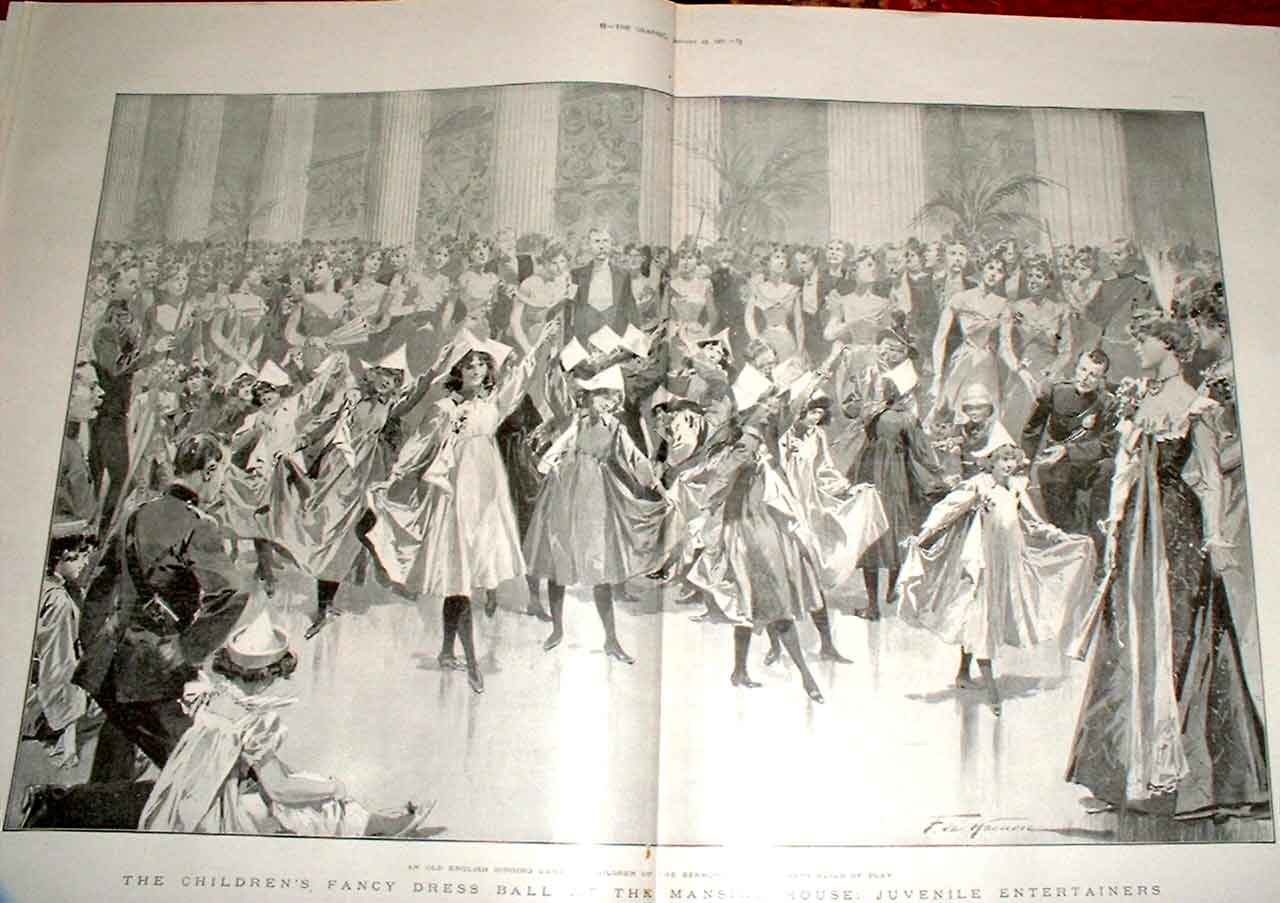Print Juvenile Entertainers Mansion House Ball 87Tbbb0 Old Original