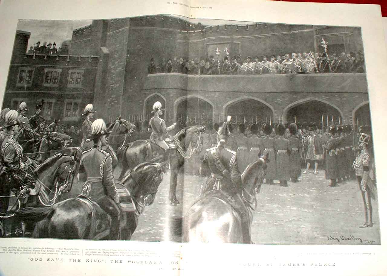 Print Proclamtion In Grand Court St James Palace 1901 71Tbbb0 Old Original
